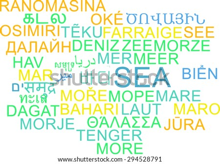 Background concept wordcloud multilanguage international many language illustration of sea
