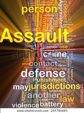 Background concept wordcloud of assault crime glowing light - stock photo