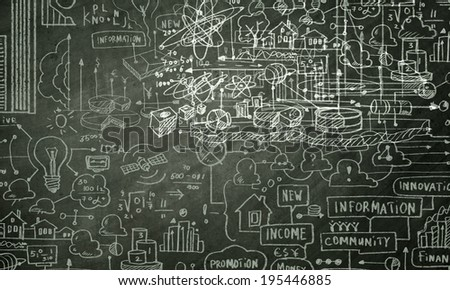Background conceptual image with business sketches on chalkboard - stock photo
