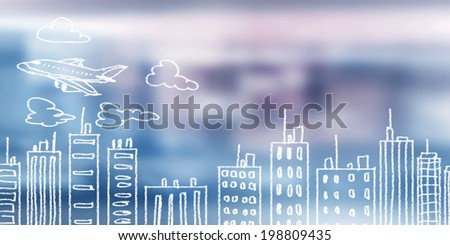 Background conceptual image with sketch of modern city