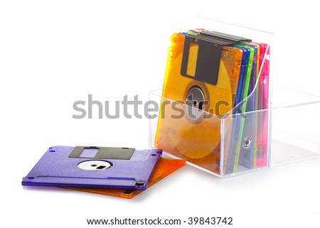 Background consisting of several diskettes of different color
