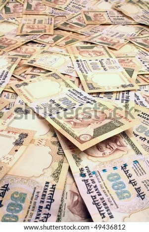 Background created with Indian Rupee notes - stock photo