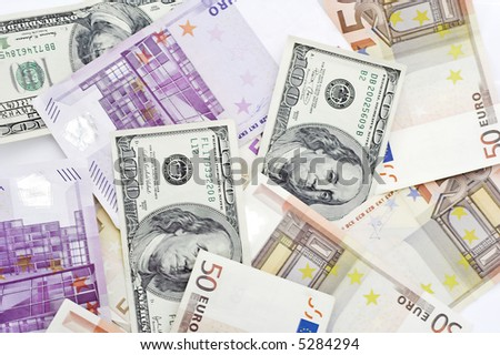 Background currencies, dollar and euro. - stock photo