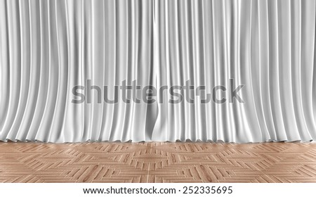 Background curtains and floor boarding - stock photo