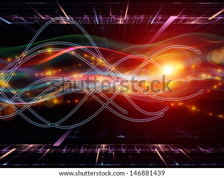 Background design of arrows and directional abstract forms on the subject of science, virtual technologies and telecommunications