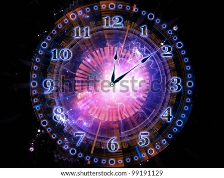 Background design of clock hands, gears, lights and abstract design elements on the subject of time sensitive issues, deadlines, scheduling, temporal processes, past, present and future - stock photo