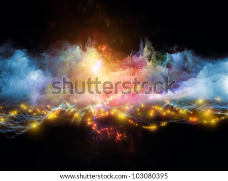 Background design of clouds of fractal foam and abstract lights on the subject of art, spirituality, painting, music , visual effects and creative technologies - stock photo
