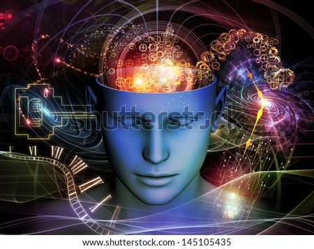 Background design of cutout of male head and symbolic elements on the subject of human mind, consciousness, imagination, science and creativity - stock photo