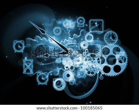 Background design of gears, clock elements and abstract design elements on the subject of scheduling, temporal and time related processes, deadlines, progress, past, present and future - stock photo