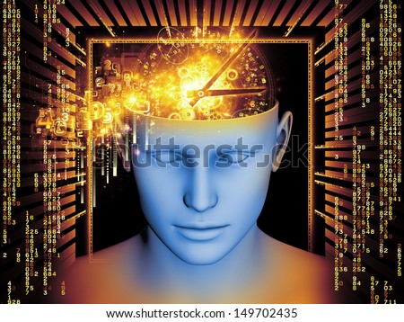 Background design of human head and symbolic elements on the subject of human mind, consciousness, imagination, science and creativity
