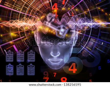 Background design of human head, key symbol and fractal design elements on the subject of encryption, security, digital communications, science and technology - stock photo