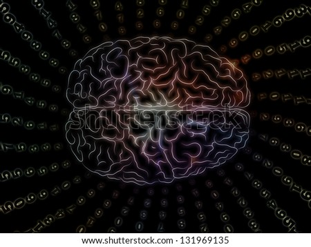 Background design of lines of human brain and digits on the subject of artificial intelligence, science, education and technology