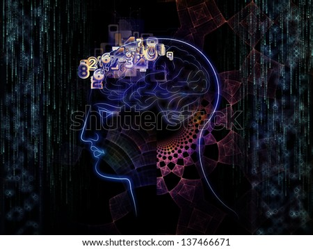 Background design of lines of human head, fractal grids and technology related symbols on the subject of artificial intelligence, science, education and technology
