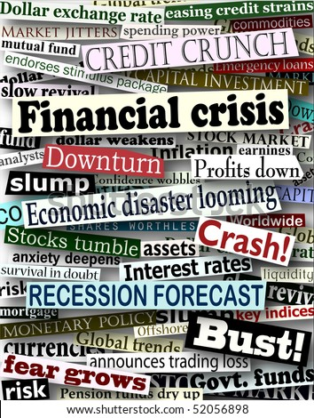 Background design of newspaper headlines about economic problems - stock photo