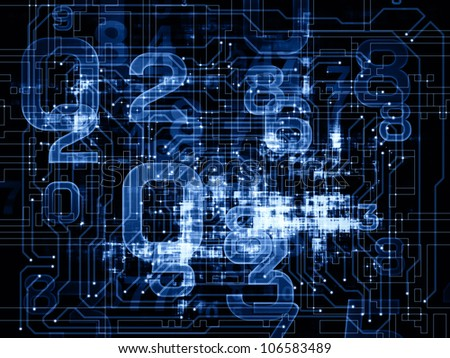 Background design of numbers on the subject of modern computing, digital worlds and information processing