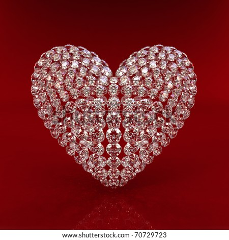 Background diamond. Diamond heart on red background - 3d render. Beautiful sparkling diamond on a light reflective surface. High quality 3d render with HDRI lighting and ray traced textures. - stock photo