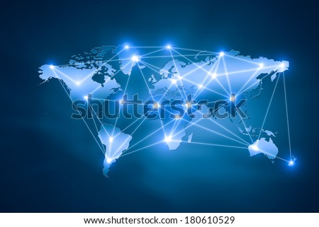 Background digital image of world map with connection lines
