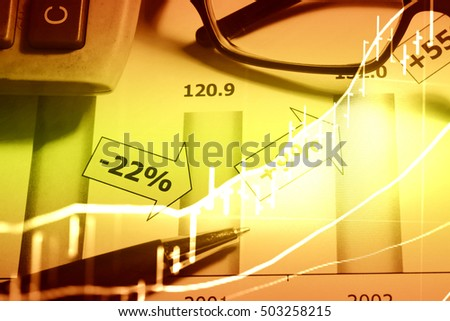 Background digital image with an information of international trade in graphs