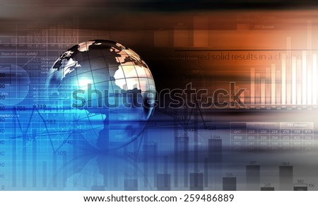 Background digital image with Earth planet and graphs - stock photo