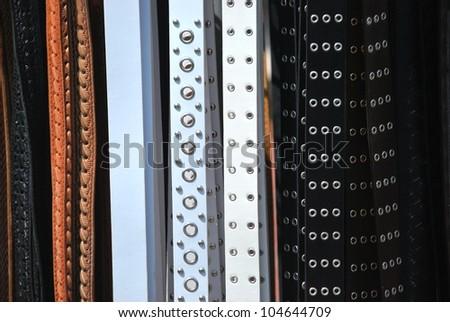 Background, Fashionable belts - stock photo