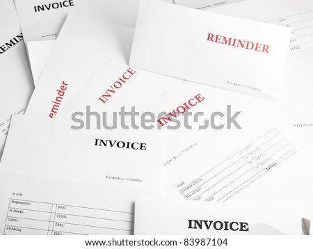 Background filled with numerous invoice and reminder letters