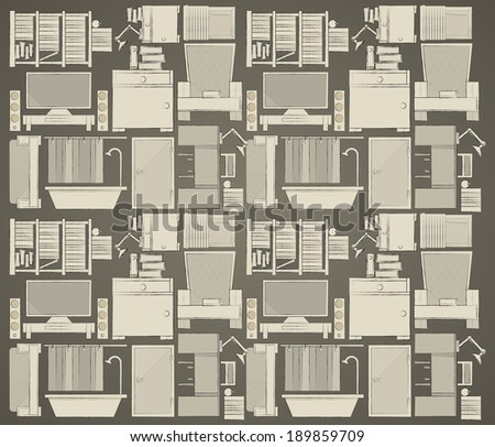 Background for apartment. Pattern with gray icons for apartment on dark gray background. - stock photo