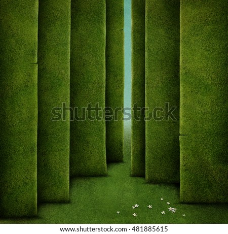 Background for Conceptual illustration with green maze