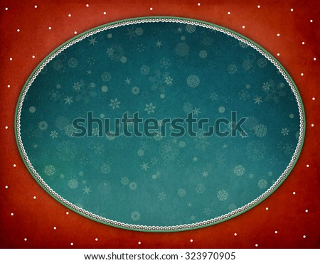 Background for  greeting card or poster of New Year or Xmas   with  Vintage oval frame - stock photo