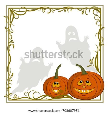 Halloween cartoon landscape moon pumpkin jackolantern for Cartoon pumpkin patterns