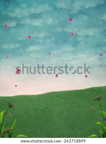 Background for illustration or poster with butterflies.  - stock photo