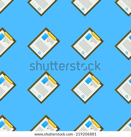 Background for office. Clipboard. Seamless pattern with colored clipboards with some document on blue background. - stock photo