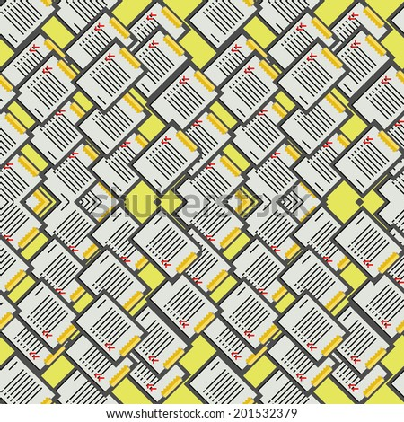 Background for office. Pattern with clipboards with some lists on yellow background. - stock photo