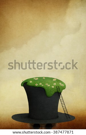 Background for poster or illustration with  lawn on  hat - stock photo
