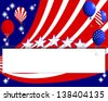 Background for the U.S. national holidays with a banner and balloons.  Raster version. - stock photo