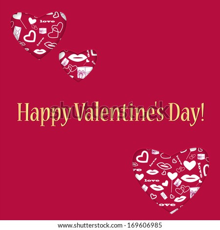 background for Valentine's Day.hearts of different sizes with a white pattern.red background with hearts and golden greeting inscription.raster - stock photo