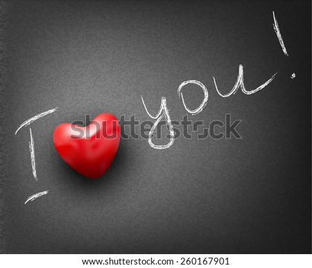 background for Valentine's day with heart and inscription in chalk - stock photo
