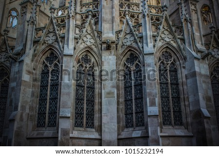 Background For Wall In Medieval Gothic Church With Grey Brick And Windows