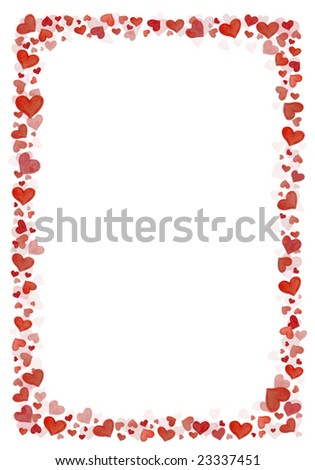 Background frame from hand painted hearts on white - stock photo