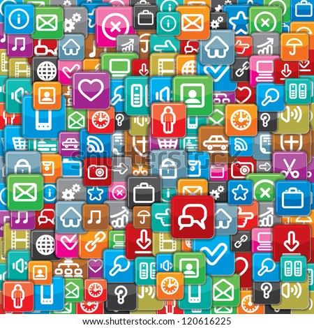 Background from a Different Apps Icons. - stock photo