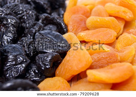 Background from a dried apricots and prunes - stock photo