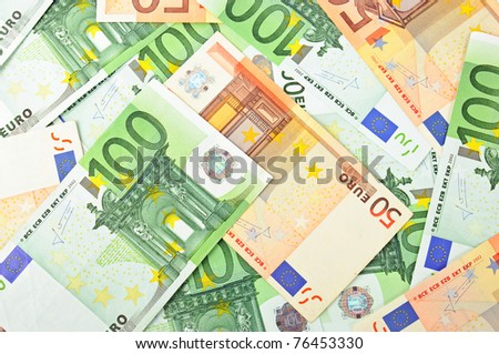 Background from a lot of euro banknotes