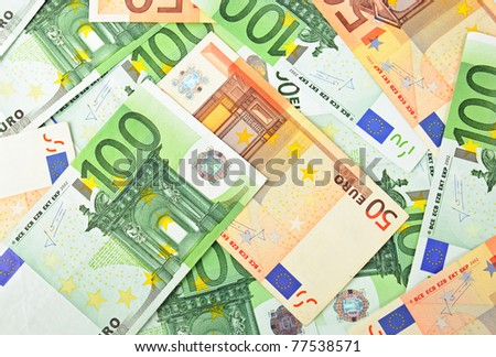 Background from a lot of euro banknotes - stock photo