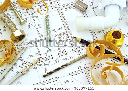 Background from a set of tools for construction on the drawing - stock photo