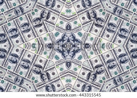 Background from a variety of hundred-dollar bills. Money money. Dollars background. Counterfeit money. Kaleidoscope. - stock photo