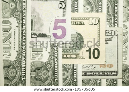 Background from banknotes of 1,5,10,20 US dollars