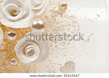 Background from beautiful artificial flowers. Macro photo - stock photo