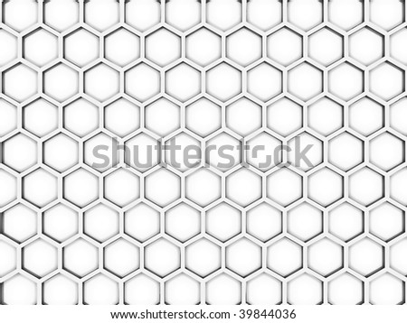 Background from bee honeycombs on a white background - stock photo