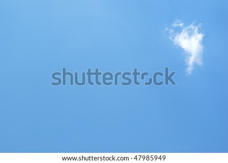 Background from blue sky and single cloud - stock photo