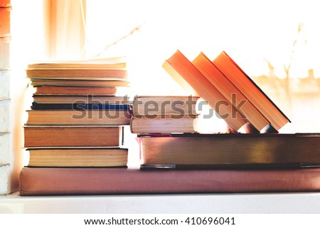 Background from books. Books close up. - stock photo