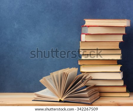 Background from books. Books close up. Books on the shelf. - stock photo
